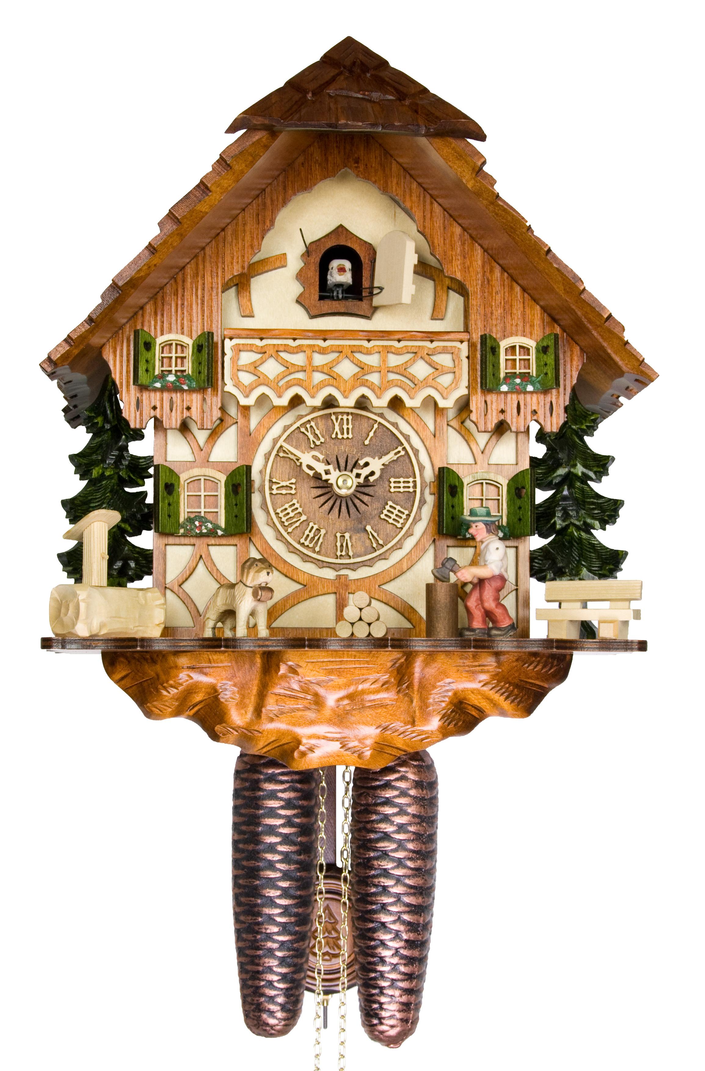 Adolf herr cuckoo clock the busy wood chopper ah 317 1 8t new ebay - Wooden cuckoo clocks ...