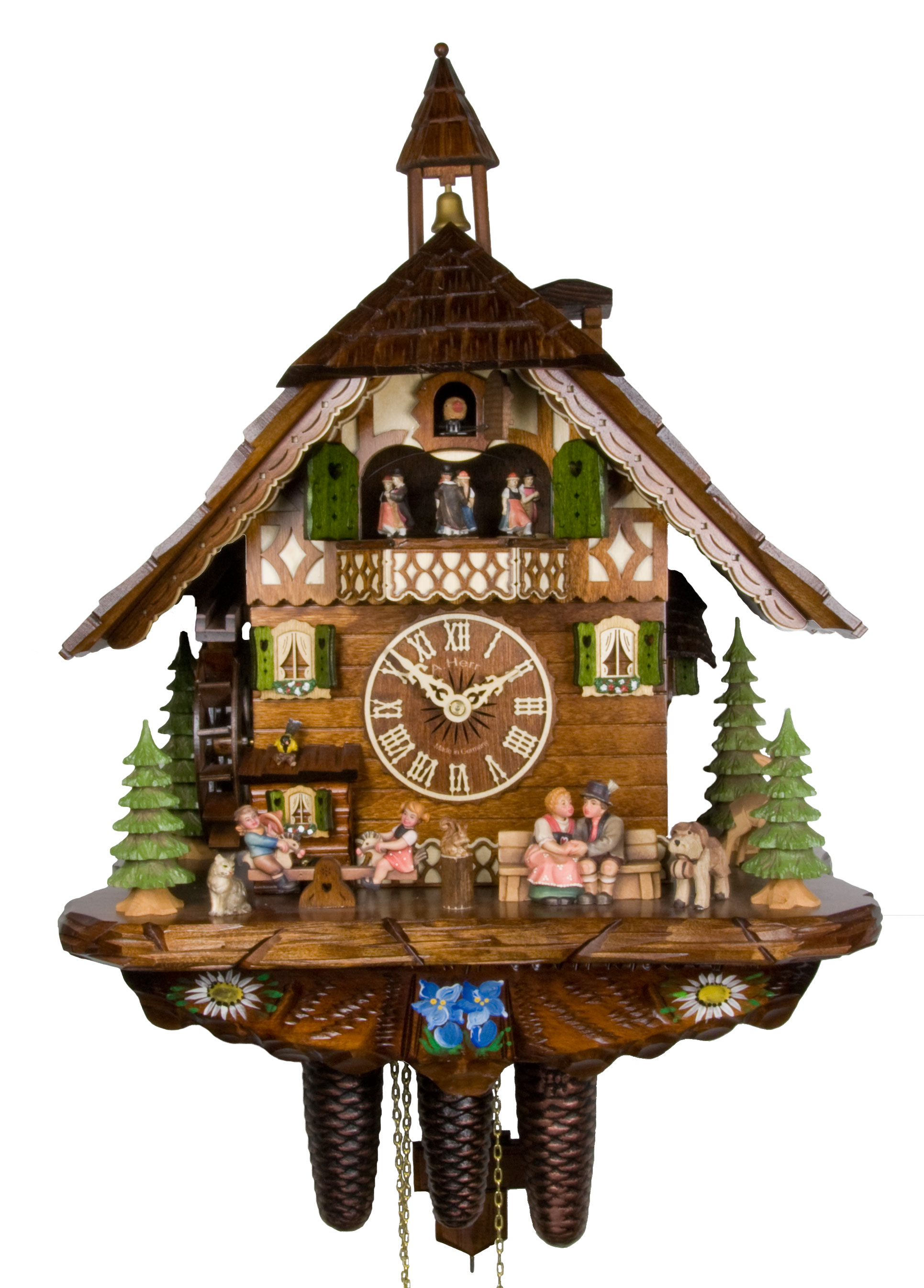 Adolf herr cuckoo clock happy family ah 801 1 8tmt new ebay - Colorful cuckoo clock ...